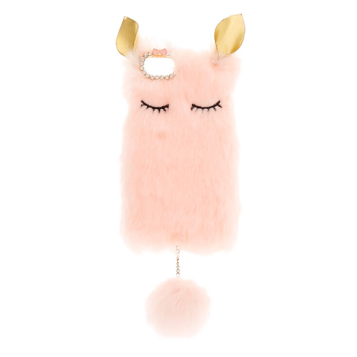 Pink Plush Animal Phone Case,