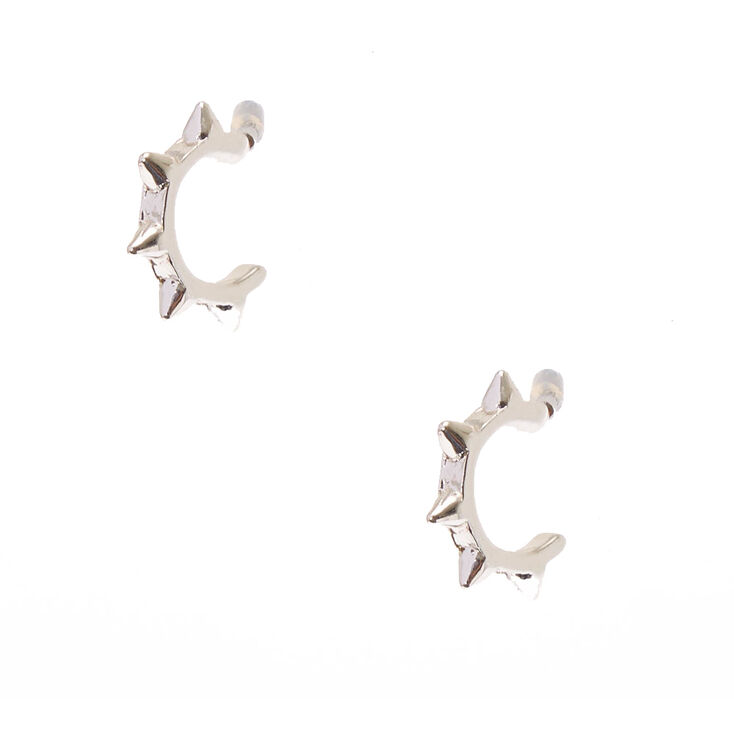 Spiked Silver Tone Mini Half Hoop Earrings,
