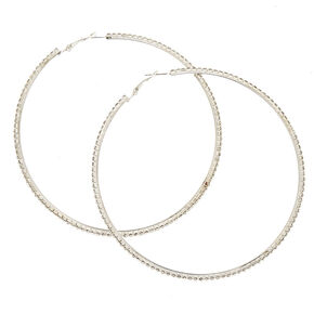 100MM Faux Crystal Lined Silver Tone Hoop Earrings,