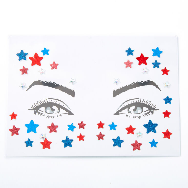 Red, White & Blue Glitter Star Face Stickers,