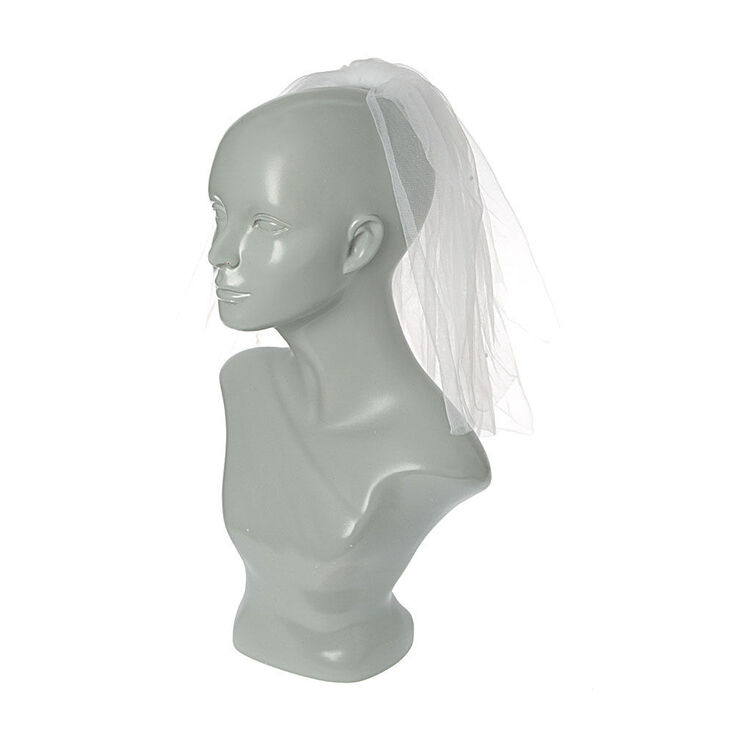 Shoulder Length Rhoinestone Bridal Veil - White,