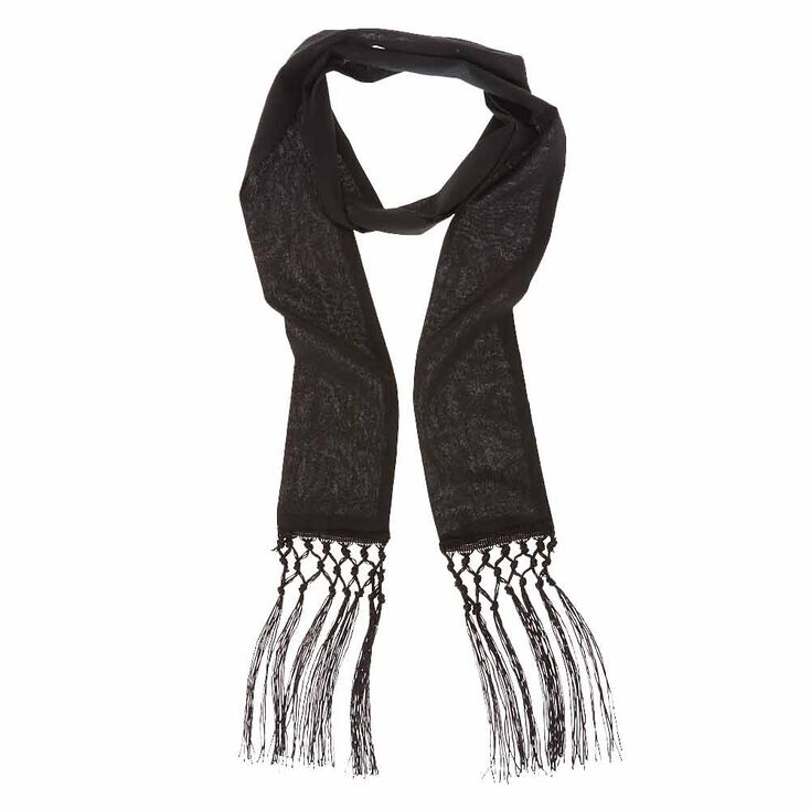 Black Long Skinny Scarf,