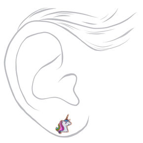 18kt Rose Gold Plated Miss Glitter the Unicorn Stud Earrings,
