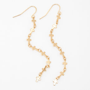"Gold 3"" Cross Linear Drop Earrings,"