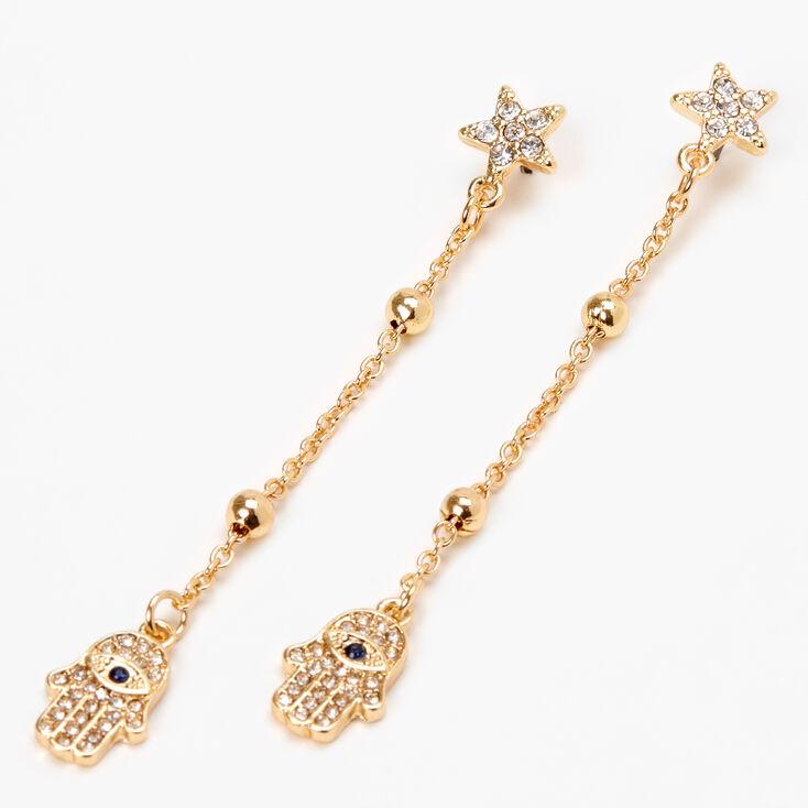 "Gold 2.5"" Embellished Hamsa Hand Drop Earrings,"