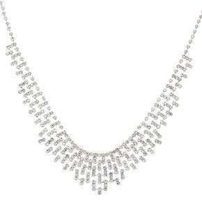 Silver Rhinestone Mosaic Statement Necklace,