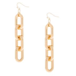 """Gold 3"""" Chain Link Drop Earrings,"""