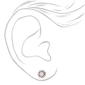 Silver Pink & Turquoise Boho Stud Earrings - 20 Pack,