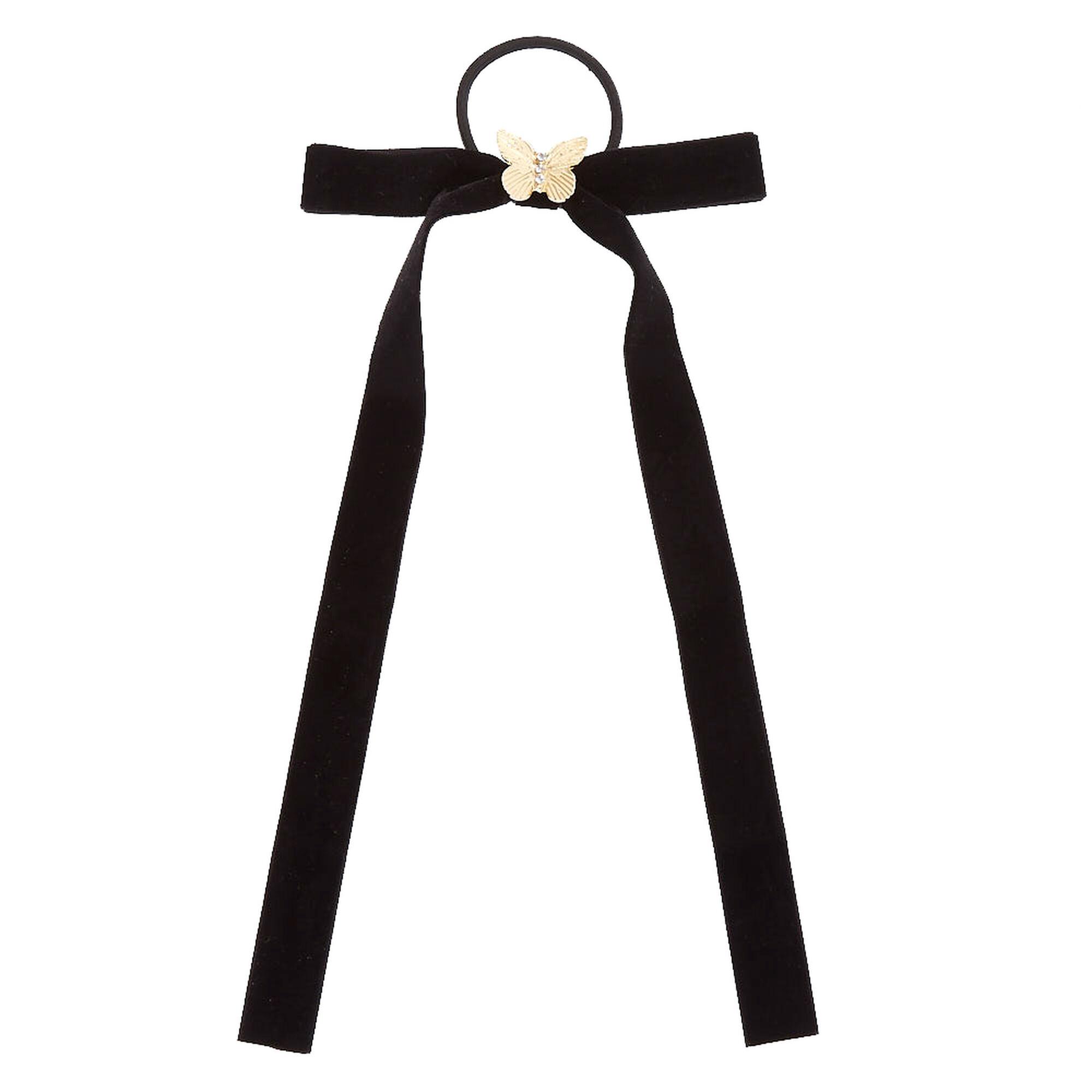 Velvet Bow Hair Tie with Butterfly Charm  eea1b404b84
