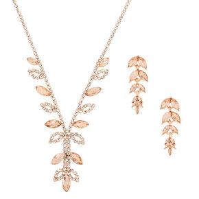Rose Gold Rhinestone Leaf Jewelry Set - 2 Pack,