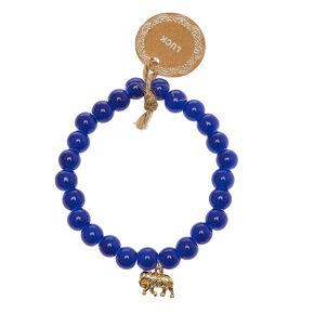 Lucky Elephant Beaded Stretch Bracelet - Blue,
