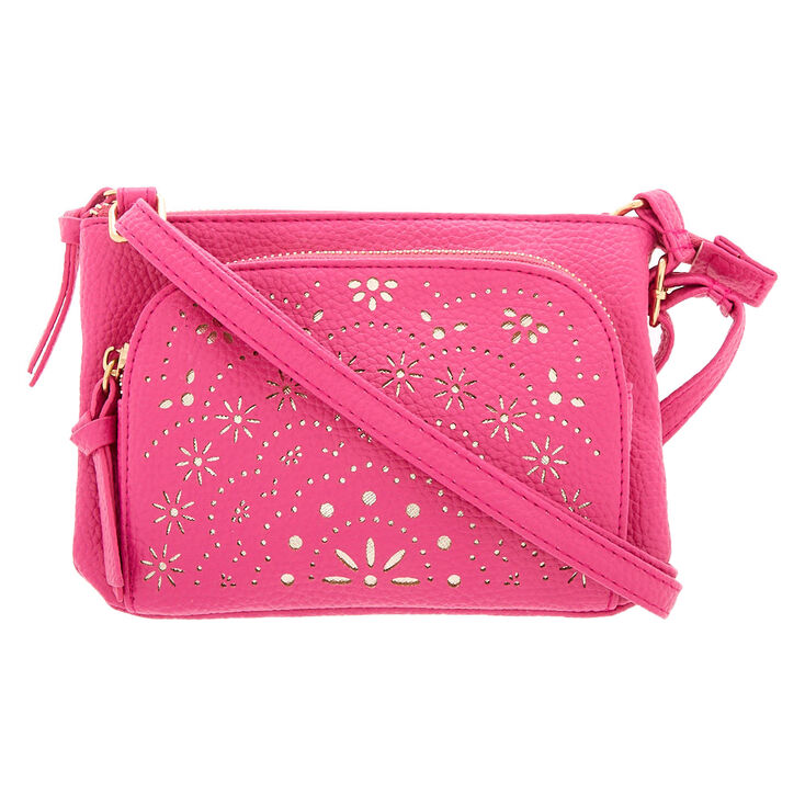 Filigree Cut Perforated Crossbody Bag - Pink,
