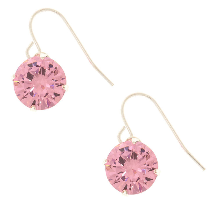 10MM Pink Cubic Zirconia Drop Earrings,