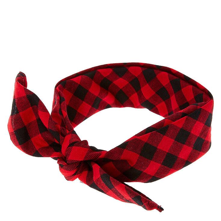 Red & Black Checkered Bandana Headwrap,