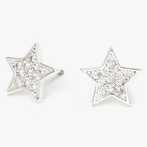 Silver Cubic Zirconia Star Stud Earrings,