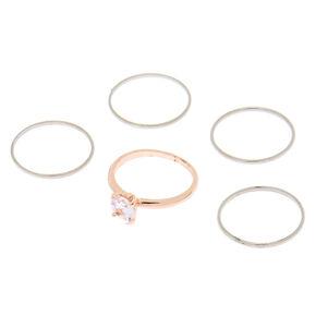 Mixed Metal Cubic Zirconia Rings - 5 Pack,