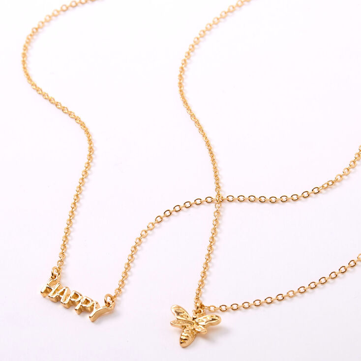 Gold Bee Happy Pendant Necklaces - 2 Pack,