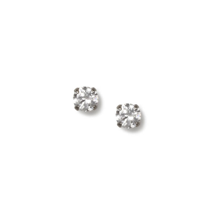 4MM Round Cubic Zirconia Sterling Silver Martini Set Stud Earrings,