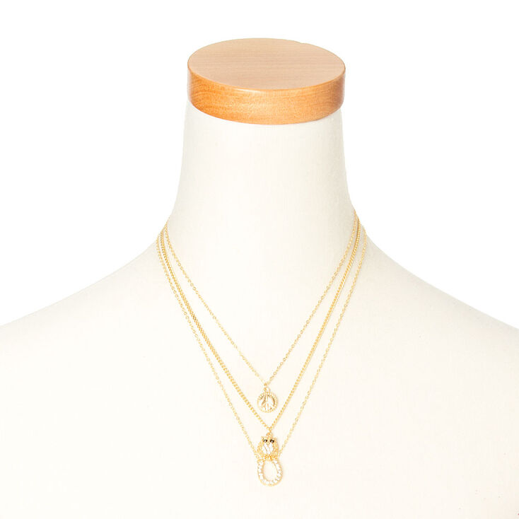 Gold Charm Necklaces - 3 Pack,