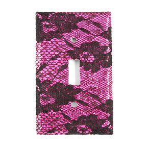 Fuchsia Glitter & Black Floral Lace Floral Lace Switch Plate Cover,