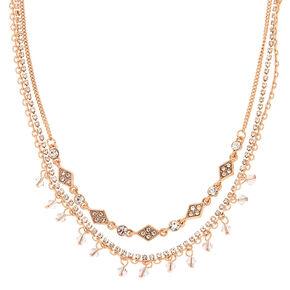 Gold Rhinestone Multi Strand Choker Necklace,