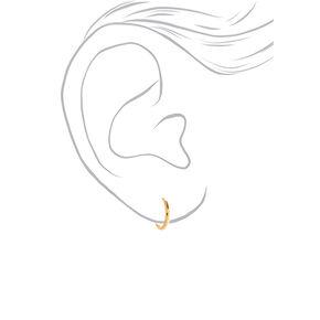 18kt Gold Plated 12mm Hinged Hoop Earrings,