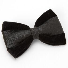 Glitter Velvet Hair Bow Clip - Black,