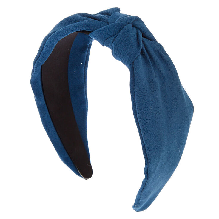 50s Hair Bandanna, Headband, Scarf, Flowers | 1950s Wigs Icing Knotted Suede Headband - Blue $7.99 AT vintagedancer.com