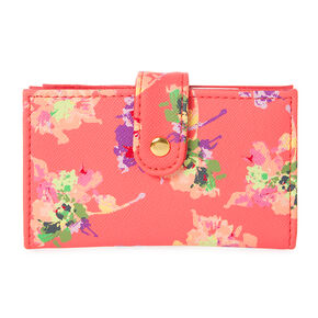 Floral Print & Coral Faux Leather Mini Card Case Wallet,