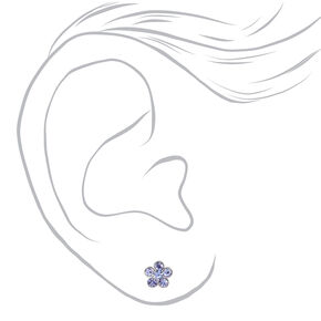 Silver Pastel Daisy Magnetic Stud Earrings - 6 Pack,