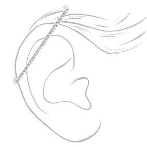 Silver Crystal Industrial Ear Cuff,
