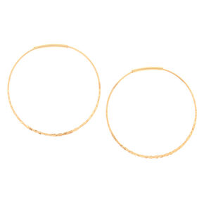 Gold 40MM Hammered Circle Hoop Earrings,