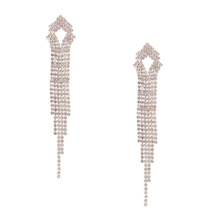 Triangular Faux Crystal Linear Drop Earrings,