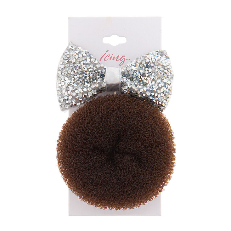 Bedazzled Silver Bow Hair Clip & Donut Set,