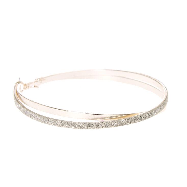 Silver Glitter Criss-Cross Hoop Earrings,