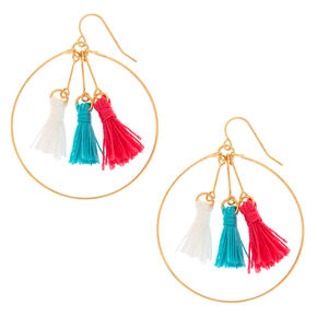 Turquoise and Pink Circle Drop Earrings,