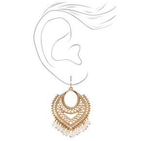 "Gold 2"" Beaded Chain Aztec Drop Earrings - White,"