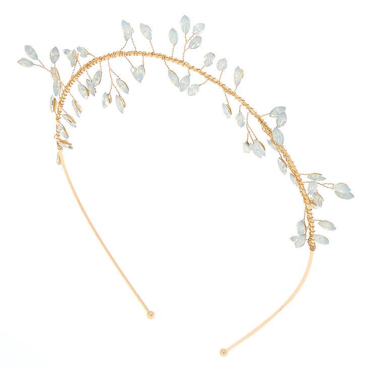 Gold Glass Rhinestone Leaf Headband,