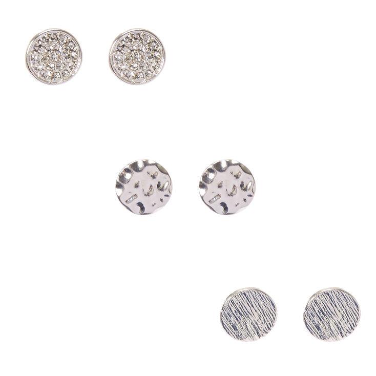 Silver Tone Textured Circle Stud Earrings,