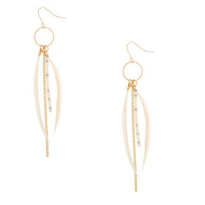 """Gold 4"""" Skinny Beaded Feather Drop Earrings - Ivory,"""