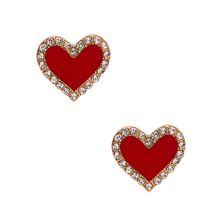 Valentines Day Dresses, Outfits, Lingerie | Red Dresses Icing Gold Crystal Heart Stud Earrings - Red $7.99 AT vintagedancer.com