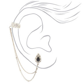 Silver Mismatched Teardrop Cuff Earring Set,