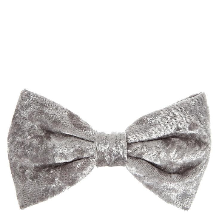 Grey Velvet Hair Bow Clip,