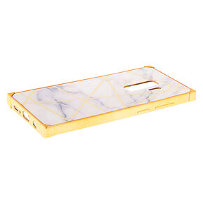 White & Gold Marble Geometric Square Phone Case - Fits Samsung Galaxy S9+,