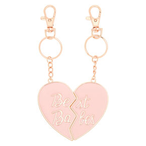 Best Friends Best Babes Heart Keychains - 2 Pack,