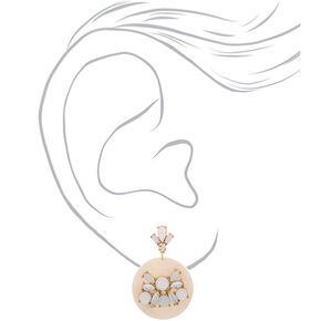 """Gold 2"""" Embellished Drop Earrings - White,"""