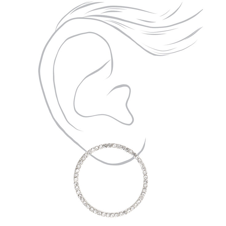 "Silver 1"" Embellished Circle Drop Earrings,"
