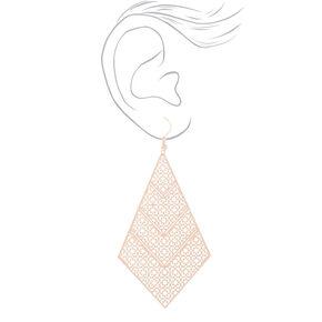 "Rose Gold 3"" Diamond Filigree Drop Earrings,"
