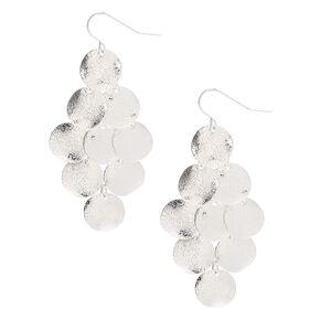 """Silver 2"""" Chandellier Disc Drop Earrings,"""