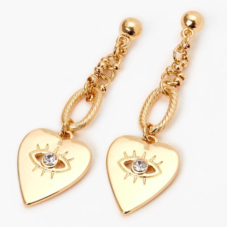 """Gold 2"""" Heart Evil Eye Chain Drop Earrings,"""